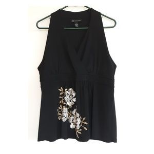 INC sleeveless sequined floral v-neck top